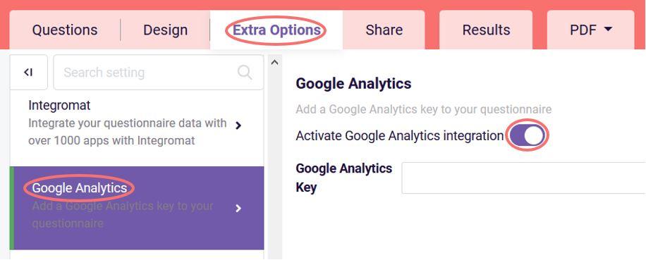 Activate Google Analytics integration