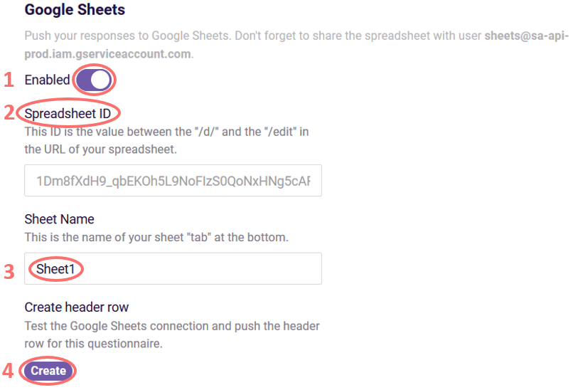Google Sheets setting screen