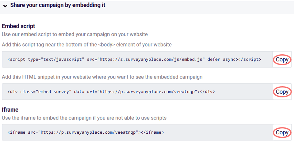 share your campaign by embedding it