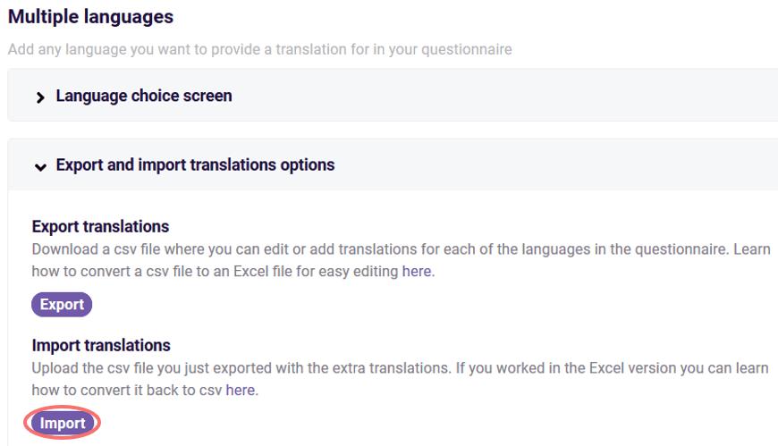 Import translations