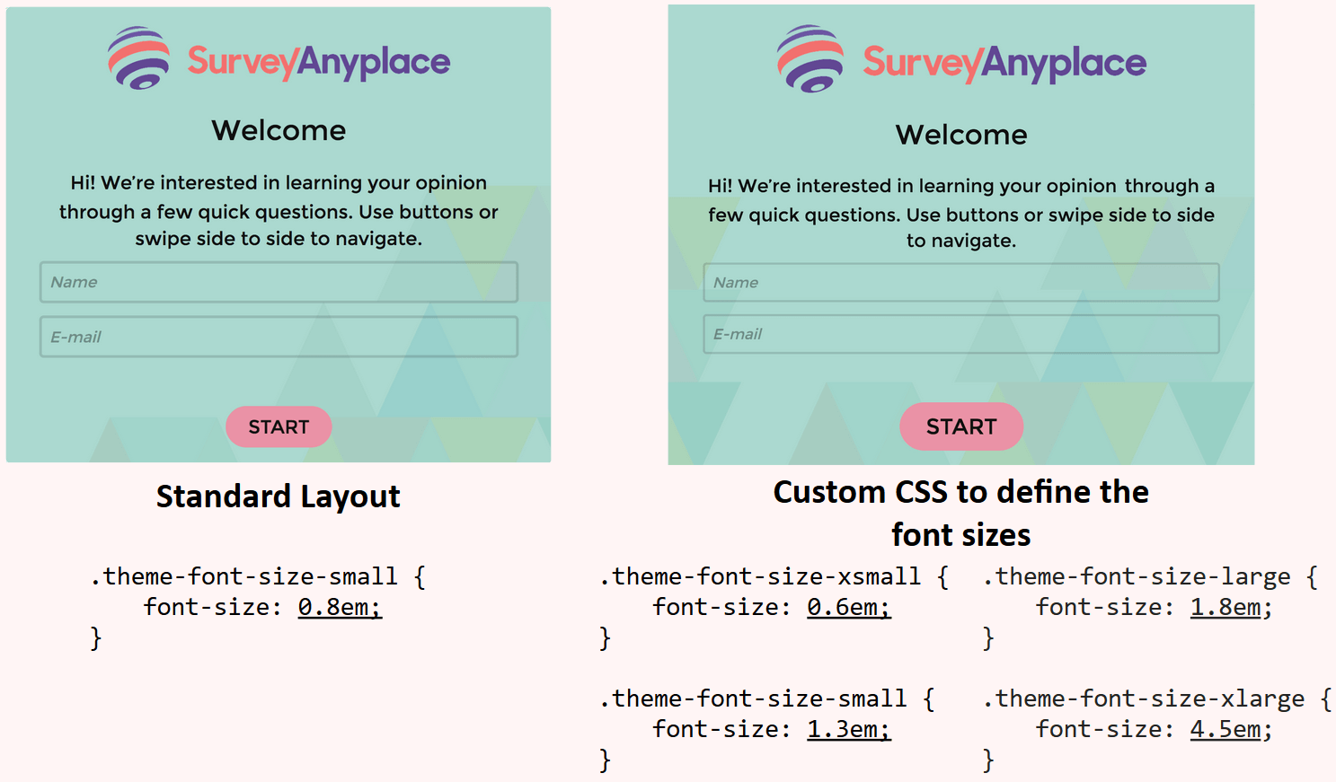 Custom CSS to define font size