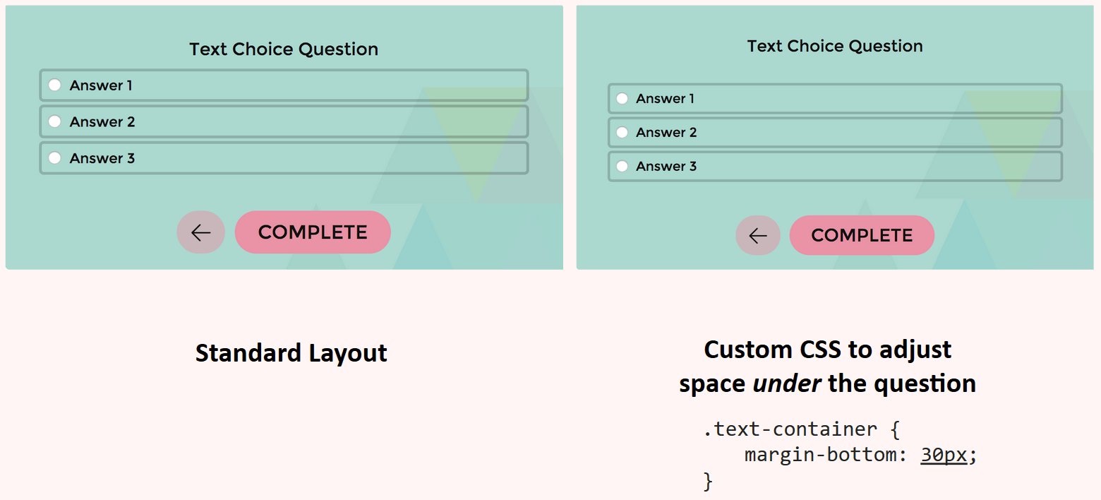 Custom CSS to adjust the space