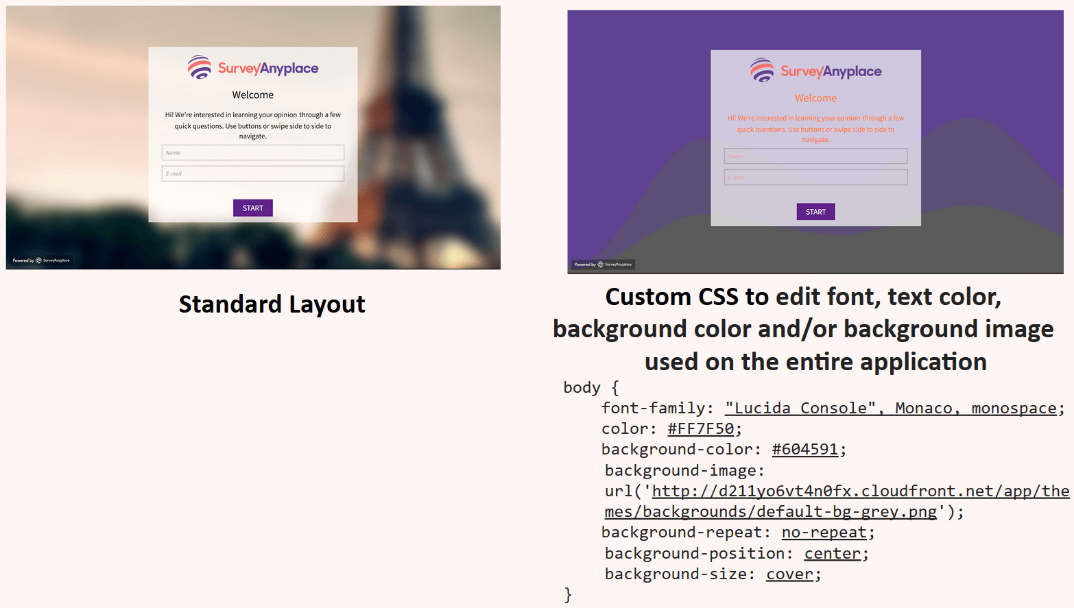 Custom CSS to edit font, color, background, image