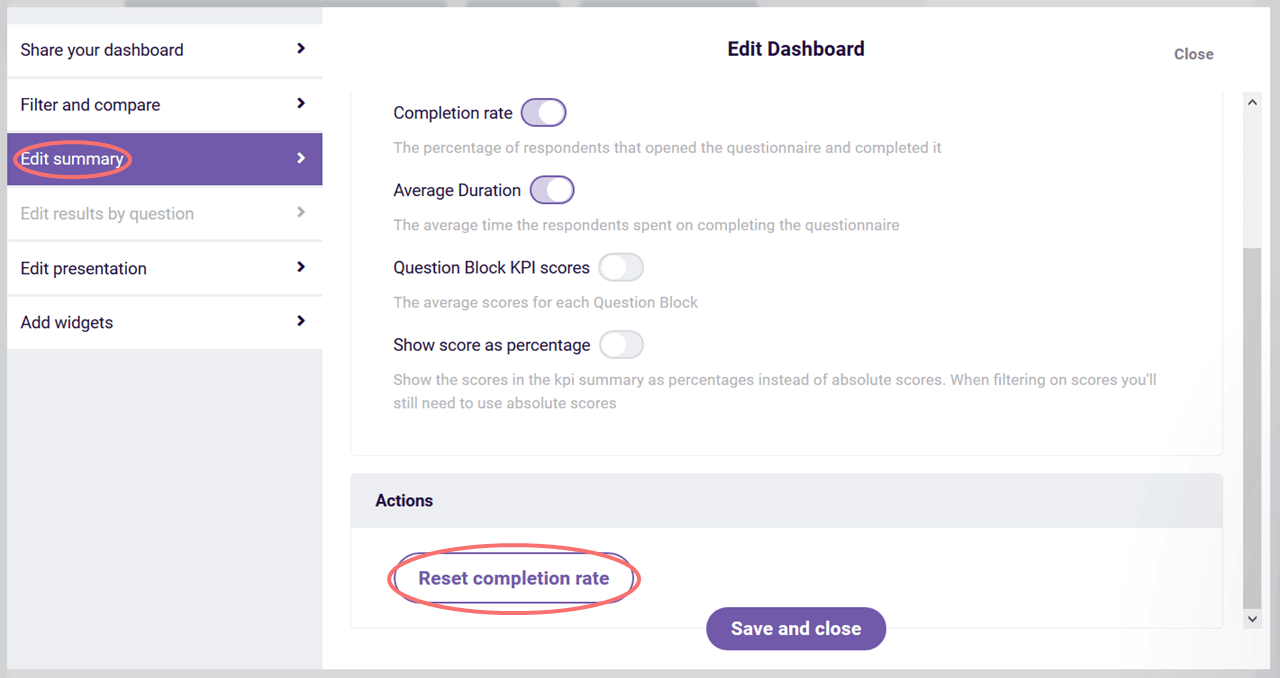 edit dashboard - reset