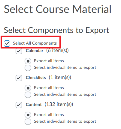 SElect components you want to export. This screen shows selecting the option select all components