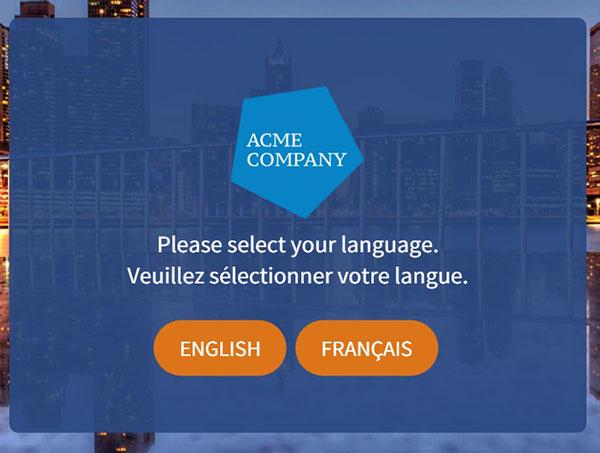 Intro screen multiple languages