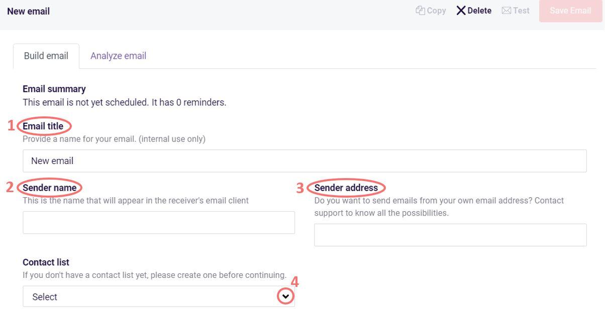 Build email details