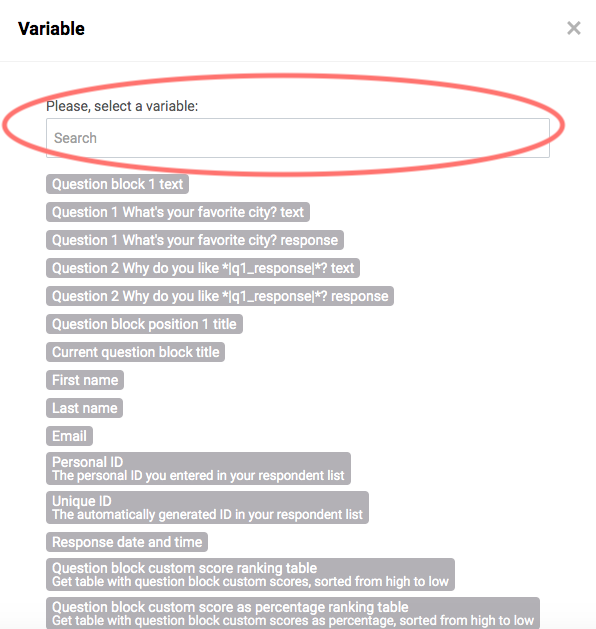 Search function for variables