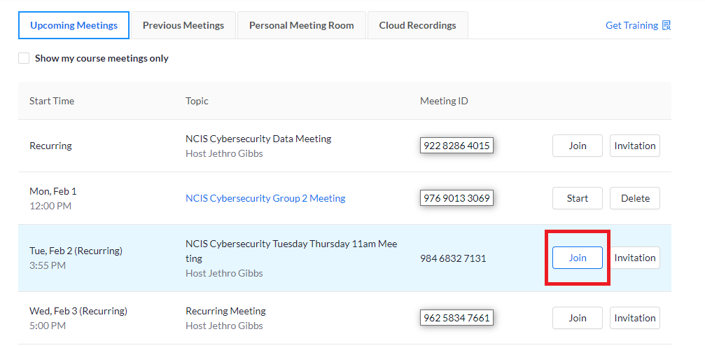 join button in meetings tab