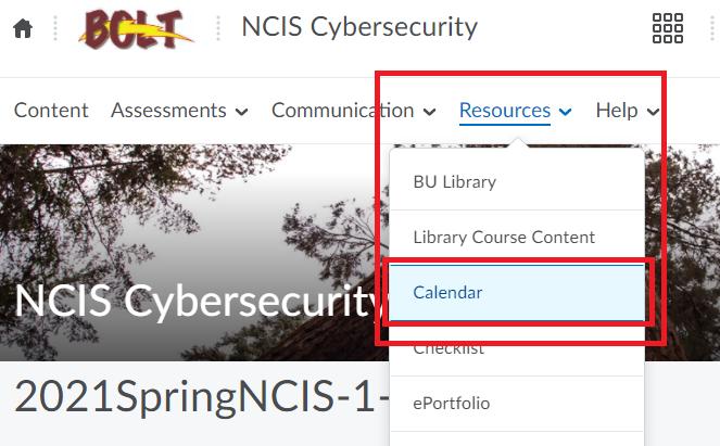 resources menu with calendar option