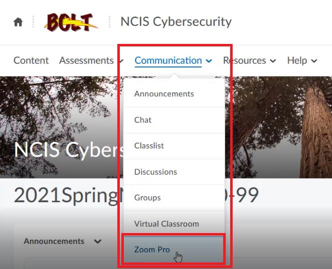 communications menu with zoom pro option
