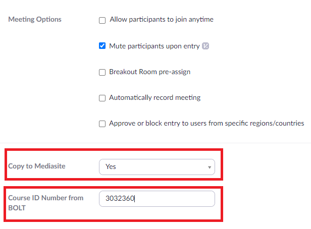 select Yes to copy the recordings to Mediasite, and then paste your course ID number from BOLT in the provided field