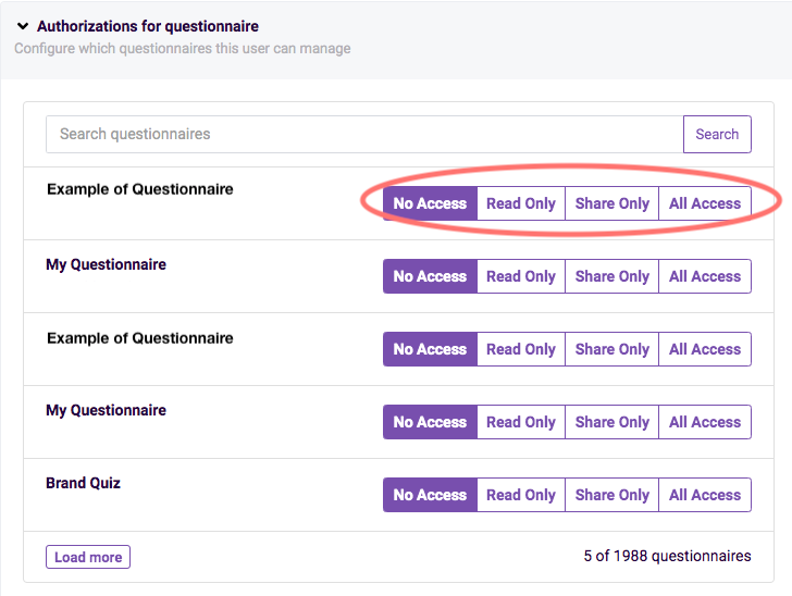 authorizations for questionnaire example