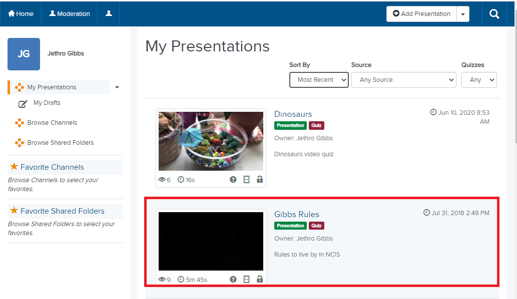 click the name of a presentation you want to add to a module