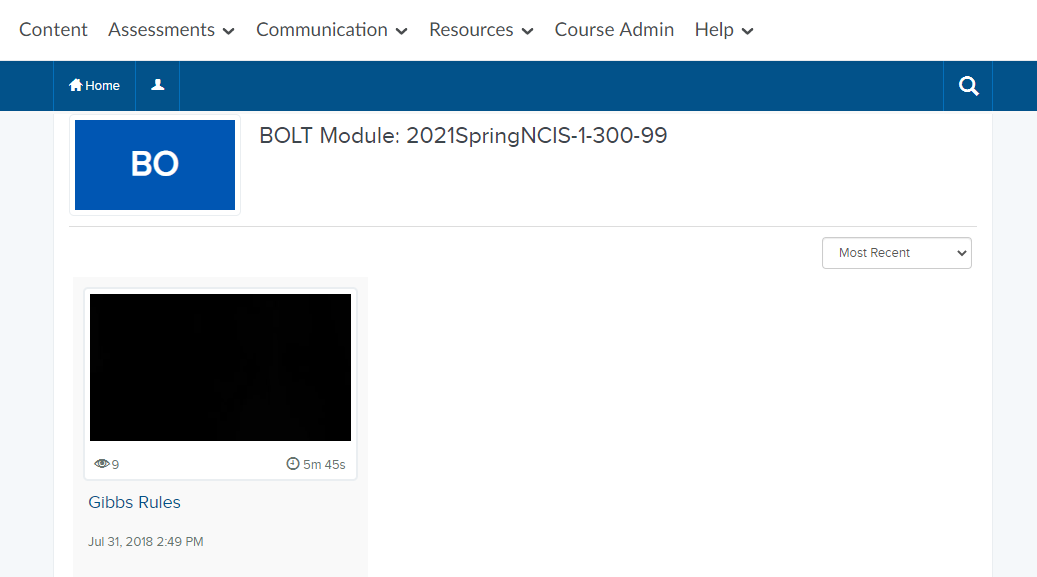 the video showing up in the course's Mediasite Module