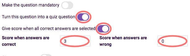 Quiz scoring - all correct score