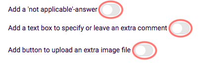 Radio button rating - other answer options