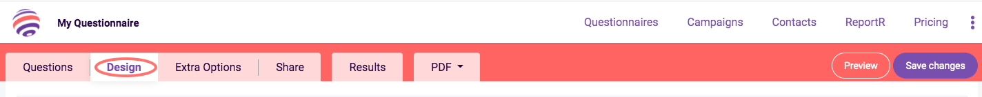 Edit Design - Design tab