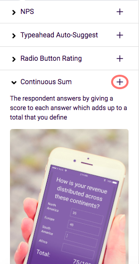 Continuous sum add question button