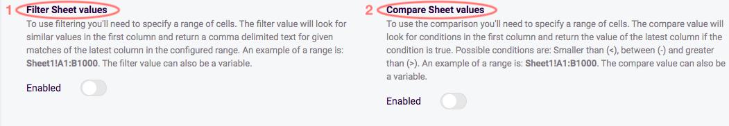 Sheet values