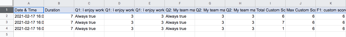 Google Sheet responses