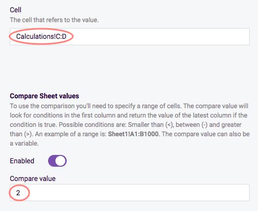 Compare Sheet value - enter settings
