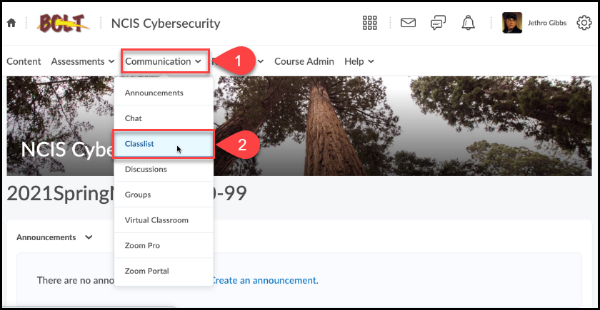 Course homepage with the Communication navbar item opened and Classlist is selected from the expanded list.