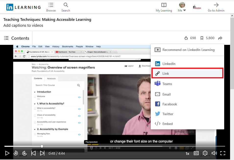 share option Link with other options LinkedIn, Teams, Email, Facebook, Twitter, and Embed