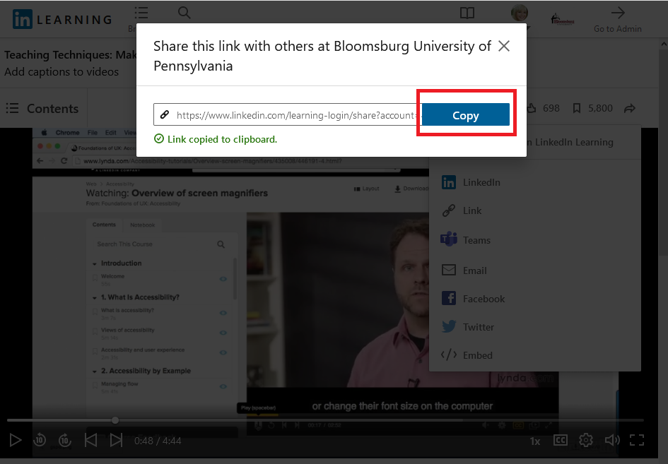 click the Copy button on the share link dialog box