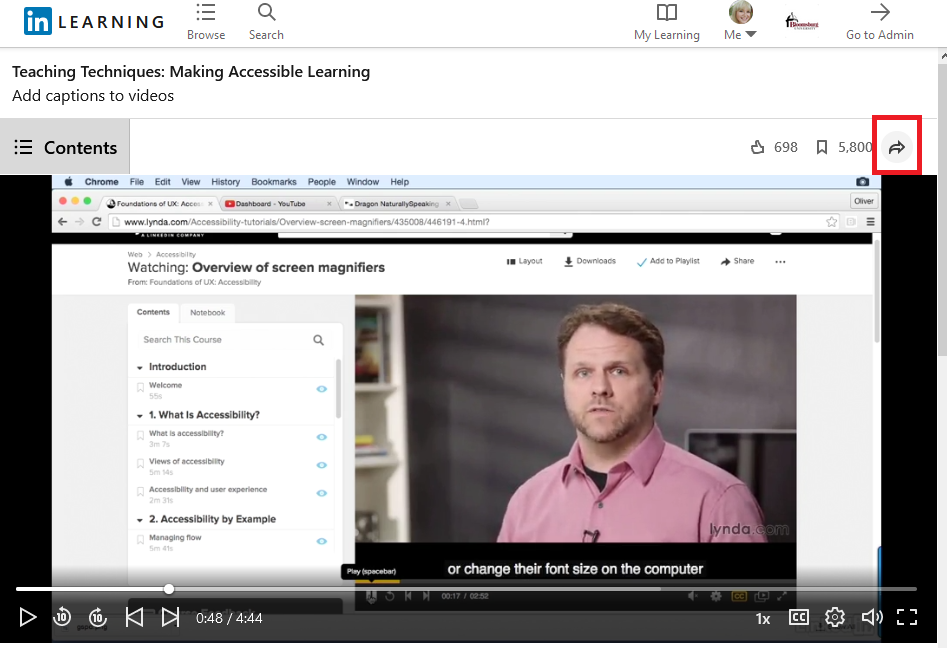 share icon on LinkedIn Learning video