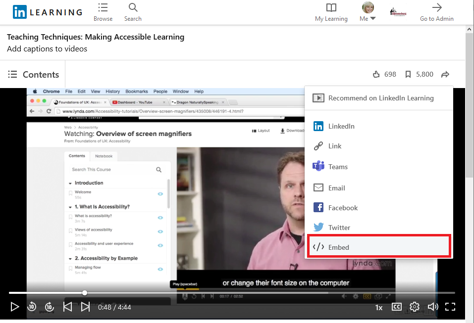 the Embed option with other options LinkedIn, Link, Teams, Email, Facebook, Twitter