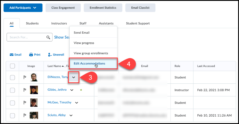 Classlist tool open with action arrow menu open and Edit Accommodations is selected.