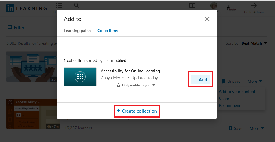 click Collections then the + Add button to add to the collection of your choice, also note you can create collections here