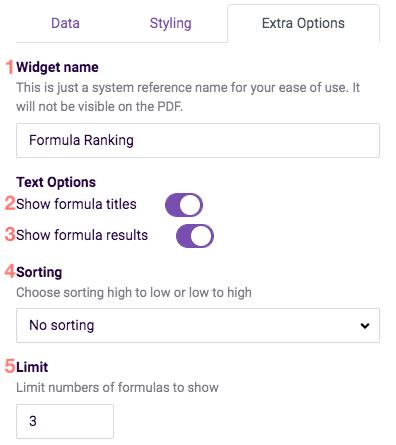 ReportR KPI widget settings