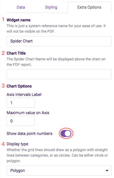 settings - spider chart