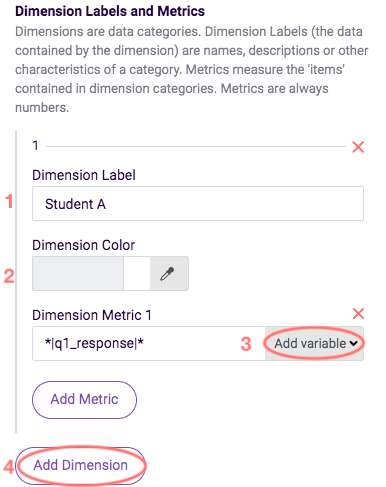 dimension labels and settings