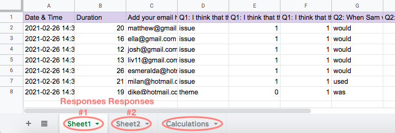 Google Spreadsheets - example of responses