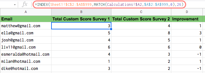 custom score calculation for sheets