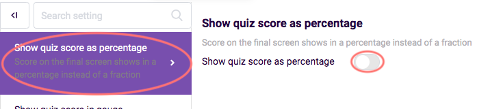 Overview of quiz features - quiz score as percentage