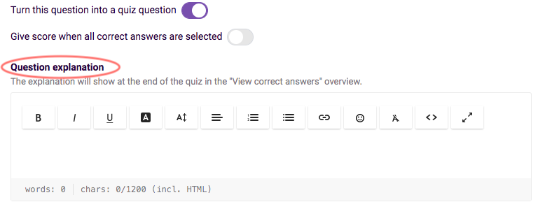 overview quiz features - question explanation