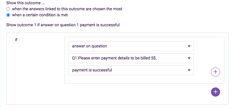 outcome for payment