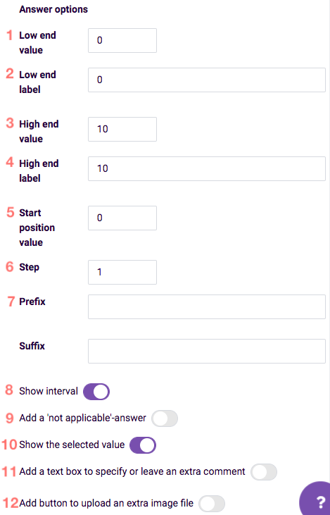 Answer options for number slider question type