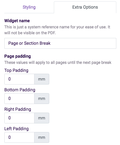 page break extra options