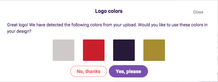 If you decide later that actually you do want to use the logo colors, click Detect colors to automatically detect the colors from the logo you've uploaded.