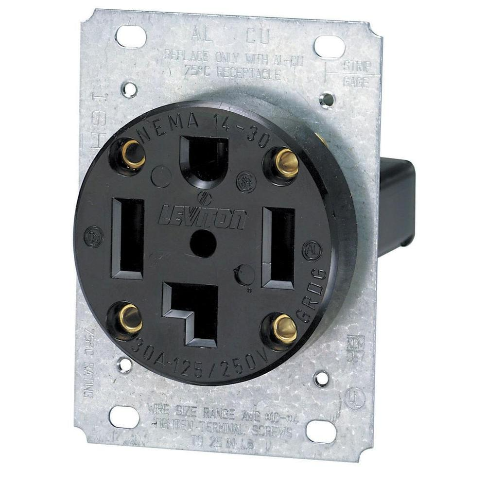 Leviton 30 Amp Industrial Flush Mount Shallow Single Outlet,  Black-R10-00278-S00 - The Home Depot