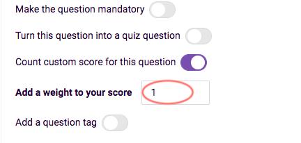 Custom score - add weight to score