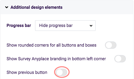 View questions results - show previous button