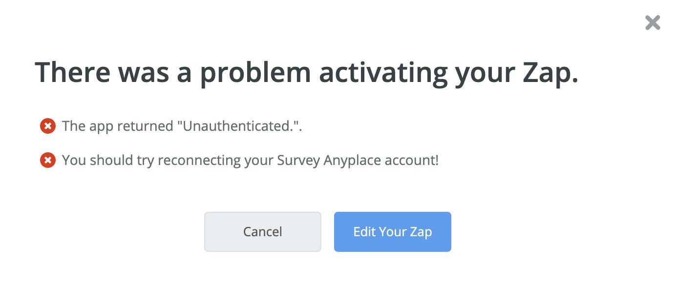 error from zapier