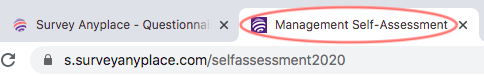 Title and link - questionnaire title in browser tab