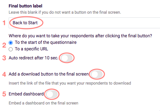 Final screen - additional options, redirect